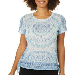 Dept 222 Womens Mosaic Side Tie Short Sleeve T-Shirt