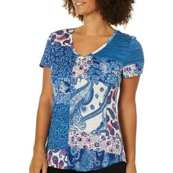 Womens Mixed Patchwork Print V-Neck T-Shirt