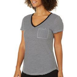 Dept 222 Womens Striped Print Chest Pocket V-Neck T-Shirt