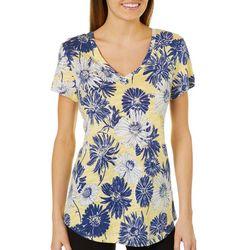Dept 222 Womens Floral V-Neck Shirt