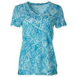 Dept 222 Womens Linear Palms Print V-Neck T-Shirt