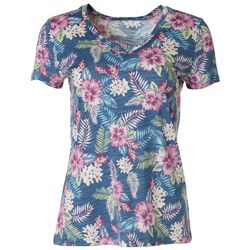 Dept 222 Womens Hibiscus Bouquet Print V-Neck T-Shirt