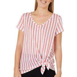 Womens Vertical Stripe Print Side Tie Top