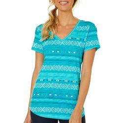 Dept 222 Womens Geometric Stripe Print V-Neck T-Shirt