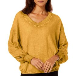 Mustard Seed Womens Solid Waffle Texture Dolman Sweater