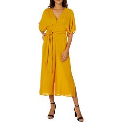 Mustard Seed Womens Solid Belted Short Sleeve Jumpsuit