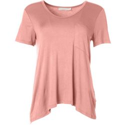 Lush Womens Solid Flowy Pocket Top