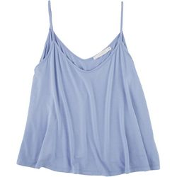 Lush Womens Solid Flowy V Neck Tank Top