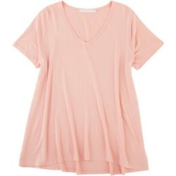 Lush Womens Solid Flowy V-Neck Shirt