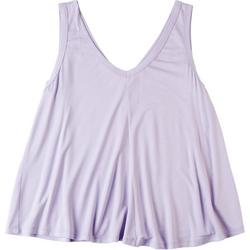 Womens Solid Flowy V-Neck Top