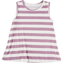 Lush Womens Striped Round Neck Sleeveless Tank
