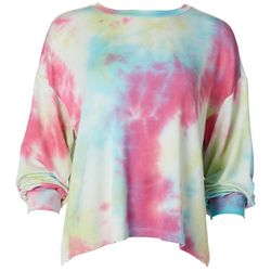 Lush Womens Tie Dye Flowy Lightweight Sweater