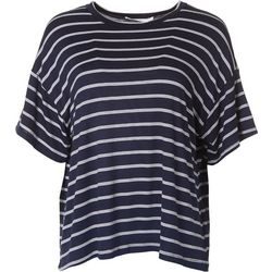 Lush Womens Tri Stripe Flowy Short Sleeve Top