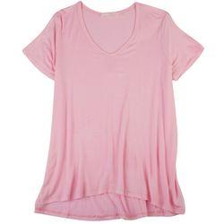 Lush Womens Solid Flowy V Neck T Shirt