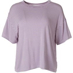 Lush Womens Striped Short Sleeve Top