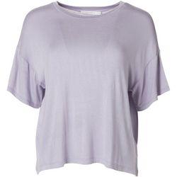 Lush Womens Solid Flowy Short Sleeve Top