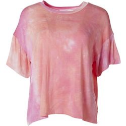 Lush Womens Tie Dye Flowy Short Sleeve Top