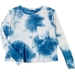 Lush Womens Tie Dye Flowy Pocket Long Sleeve Top