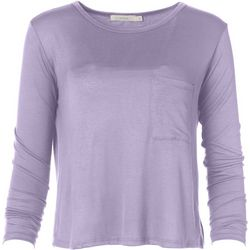Lush Womens Solid Flowy Pocket Long Sleeve Top