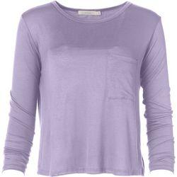 Lush Womens Solid Flowy Pocket Long Sleeve Top