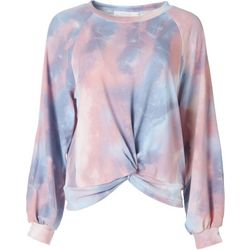 Lush Womens Tie Dye Knotted Cropped Sweater