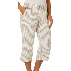Per Se Womens Striped Linen Pull On Drawstring Capris