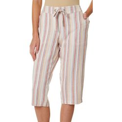 Per Se Womens Vertical Stripe Print Linen Drawstring Capris