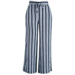 Per Se Womens Striped Linen Flowy Beach Pants Drawstring
