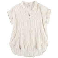 Per Se Womens Striped Collared Top