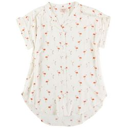 Per Se Womens All-Over Flamingos Collared Top