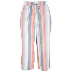 Per Se Womens Colorful Vertical Stripes Linen Pants