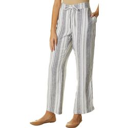 Per Se Womens Mixed Vertical Stripes Linen Pants