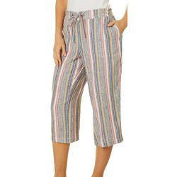 Per Se Womens Mixed Vertical Stripe Print Drawstring
