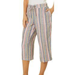 Womens Mixed Vertical Stripe Print Drawstring Capris