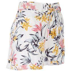 Per Se Womens Tropical Floral Print Linen Shorts