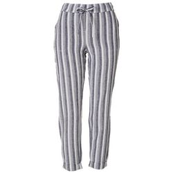 Per Se Womens Striped Linen Cropped Pants