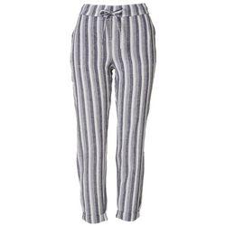 Per Se Womens Striped Linen Cropped Pants