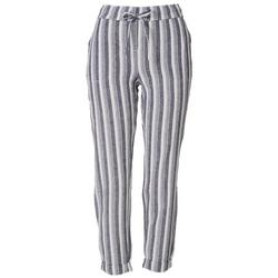 Womens Striped Linen Cropped Pants