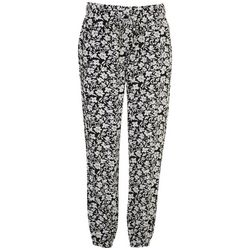Per Se Womens Printed Linen Cuffed Pants