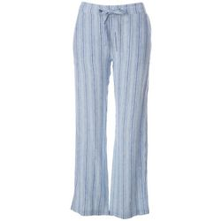 Per Se Womens Mixed Vertical Stripe Print Linen Pants