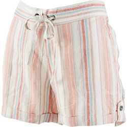 Per Se Womens Striped Linen Shorts With Tie Detail