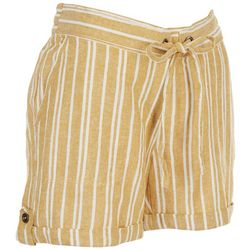 Per Se Womens Drawstring Striped Shorts