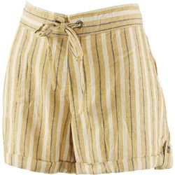 Per Se Womens Striped Linen Shorts With Tie