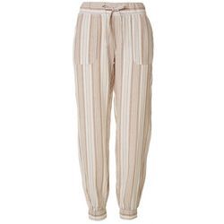 Per Se Womens Striped Linen Joggers