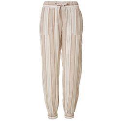 Per Se Womens Striped Linen Joggers