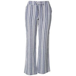 Per Se Womens Striped Linen Relaxed Pants