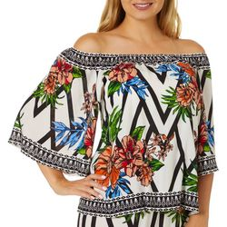 Flying Tomato Womens Graphic Palm Print Off The Shoulder Top