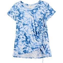 Ava James Womens Tie Dye Short Sleeve Elastic Tie Top