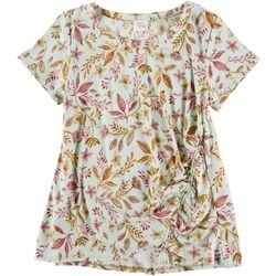 Ava James Womens Floral Print Bottom Scrunch Short Sleeve