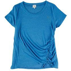 Ava James Womens Solid Elastic Tie Short Sleeve Top